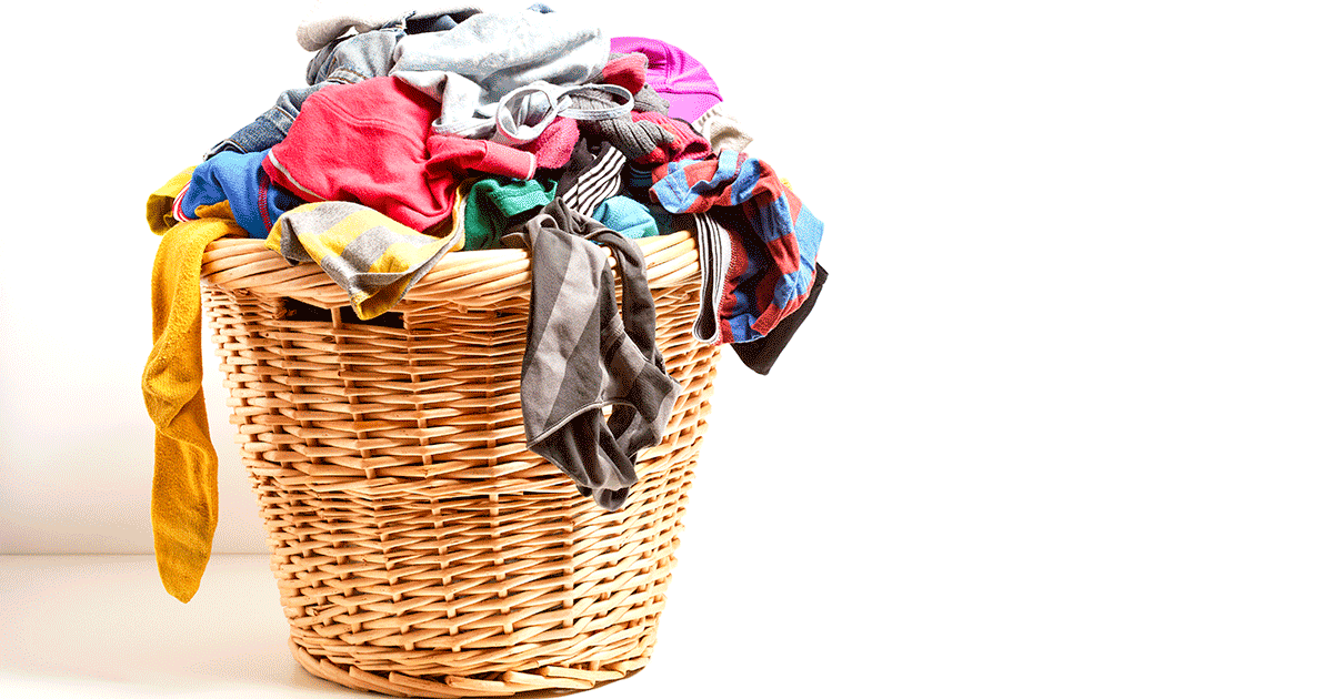 Basket of clothes in a hamper