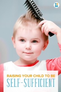 Little boy brushing his hair