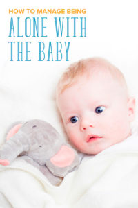 How to manage being alone with the baby: A baby lying down with a stuffed animal