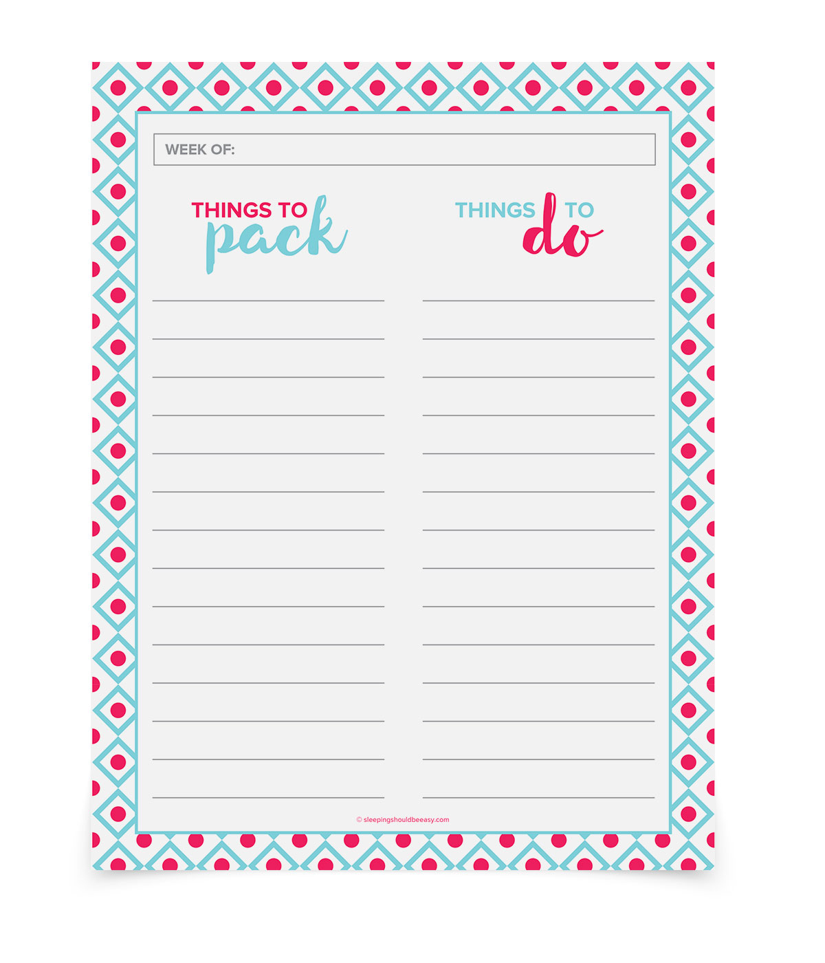 A FREE printable to-do list. Remind yourself things you need to pack for the next day. You can also write all the tasks you need to do. Download the free printable and get organized!