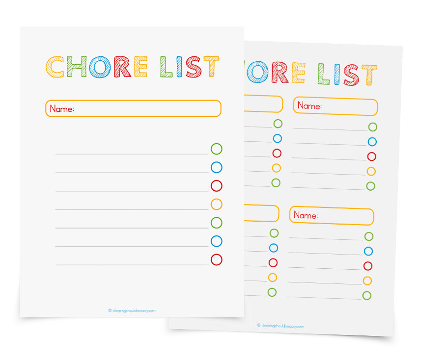Free printable chore lists! Print these out so your kids can check off their tasks. Perfect for teaching kids responsibility and cleaning up after themselves.