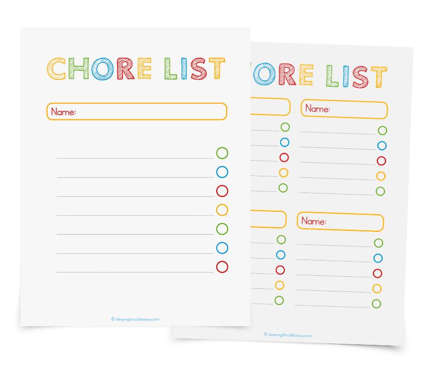 Free printable chore lists!