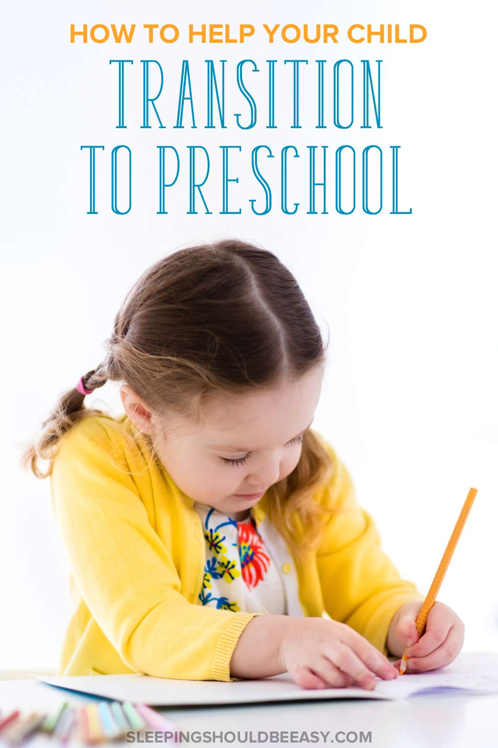 Little girl writing, hoping to transition to preschool