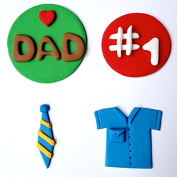 Father's Day gift idea: Edible fondant cupcake toppers. Bake cupcakes and decorate with themed toppers.
