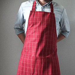 Father's Day gift idea: A red men's apron, perfect for grilling this summer
