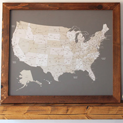 Father's Day gift: a pushpin map of the United States, perfect for the traveler