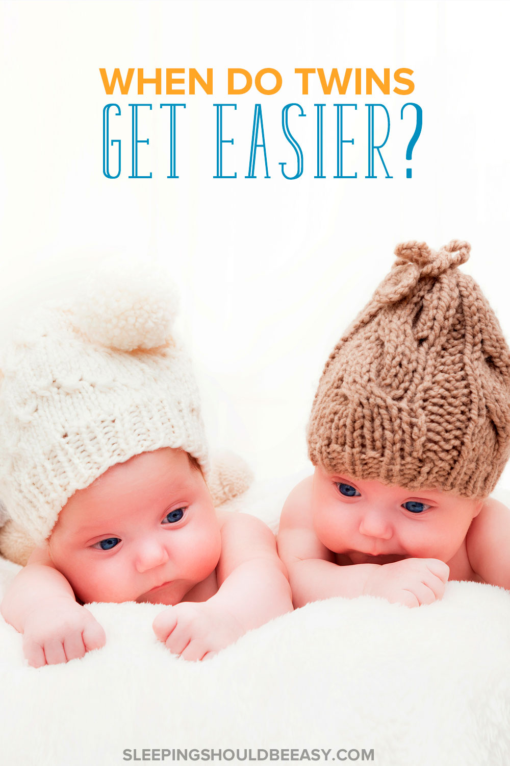 When does caring for twins get easier? Taking care of twins, especially in the first few weeks and months, is one of the hardest things to do. Here are the milestones that mark when it gets easier as well tips on how to cope through the difficulties, especially when you're caring for twins alone.