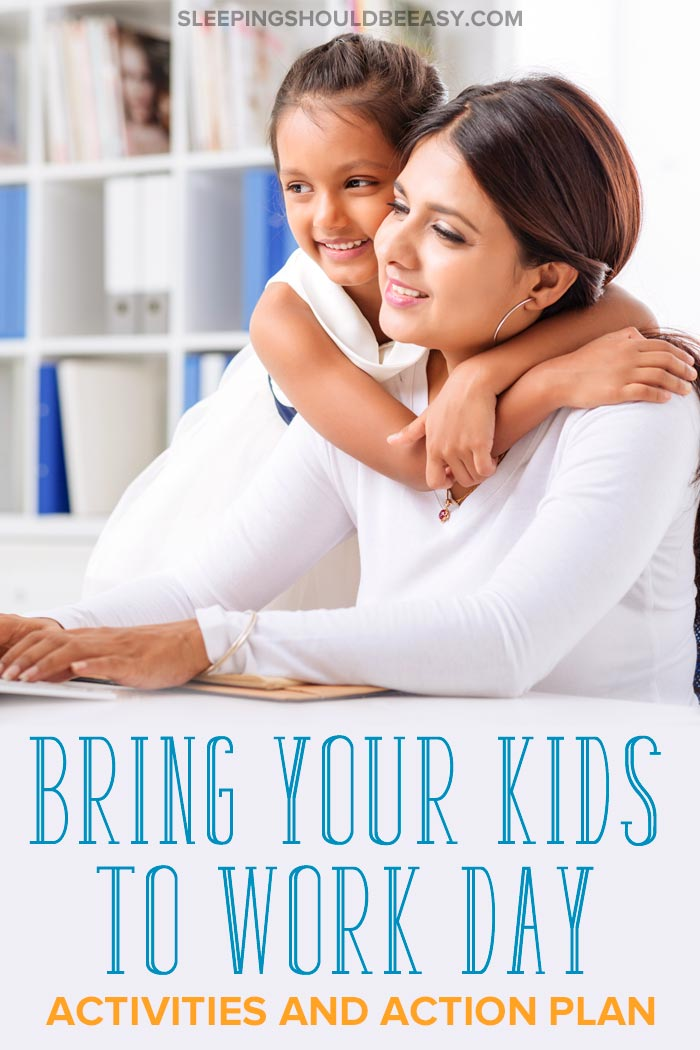 A woman at work with her daughter hugging her: Bring your child to work day activities