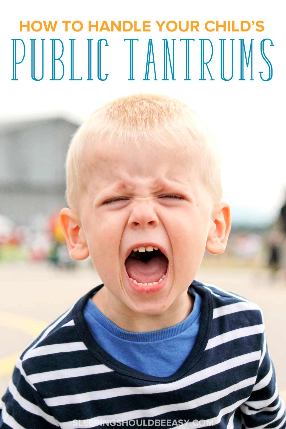 Angry little boy yelling and throwing public tantrums
