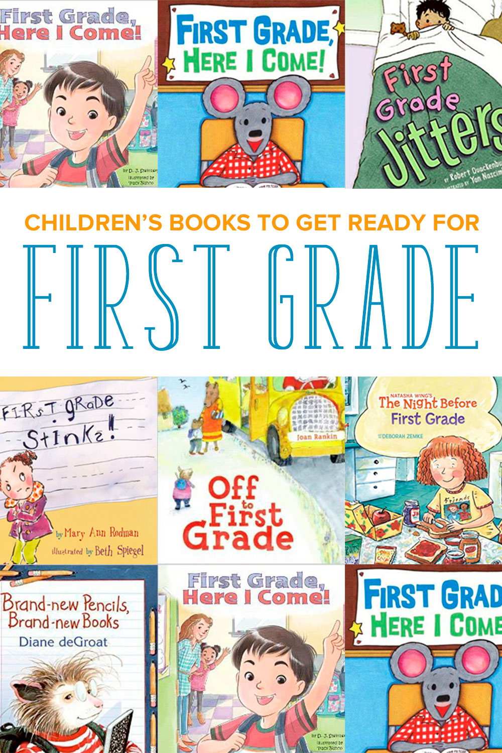 A selection of the best children's books all about first grade. Reading about first grade will help your kindergarten student prepare for class and meet the teachers. Read these picture books with your child as you get ready to go back to school! Even includes a FREE Read Aloud Book List with hundreds of favorite selections to read with your kids! #firstgrade #childrensbooks
