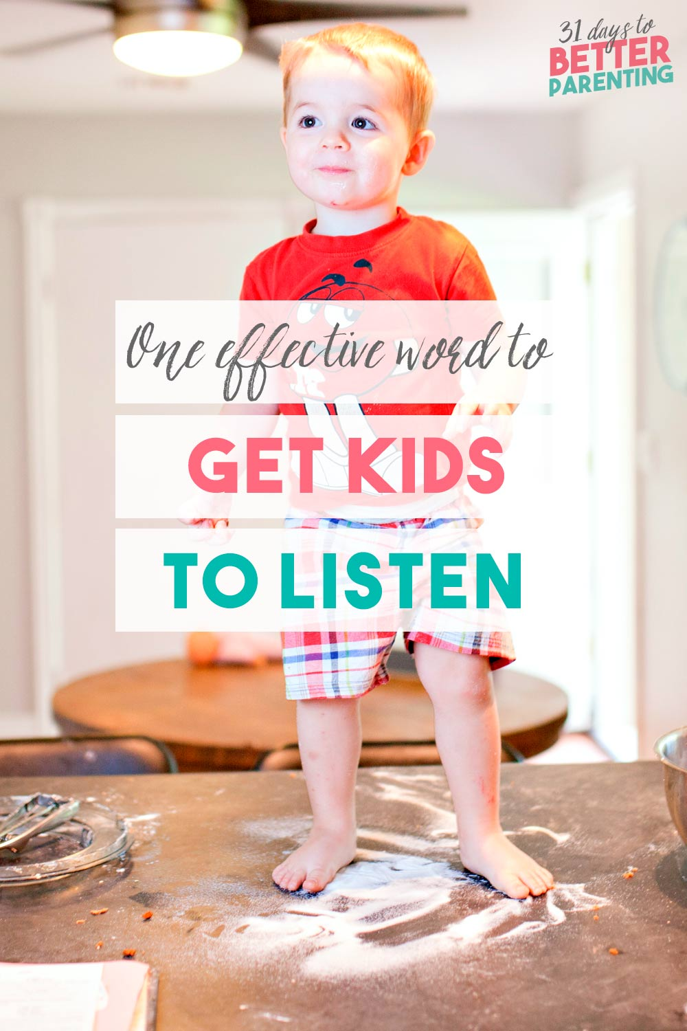 Teaching children to listen the first time is a common parenting struggle every mom has faced. Learn how to get kids to listen with this one effective word.