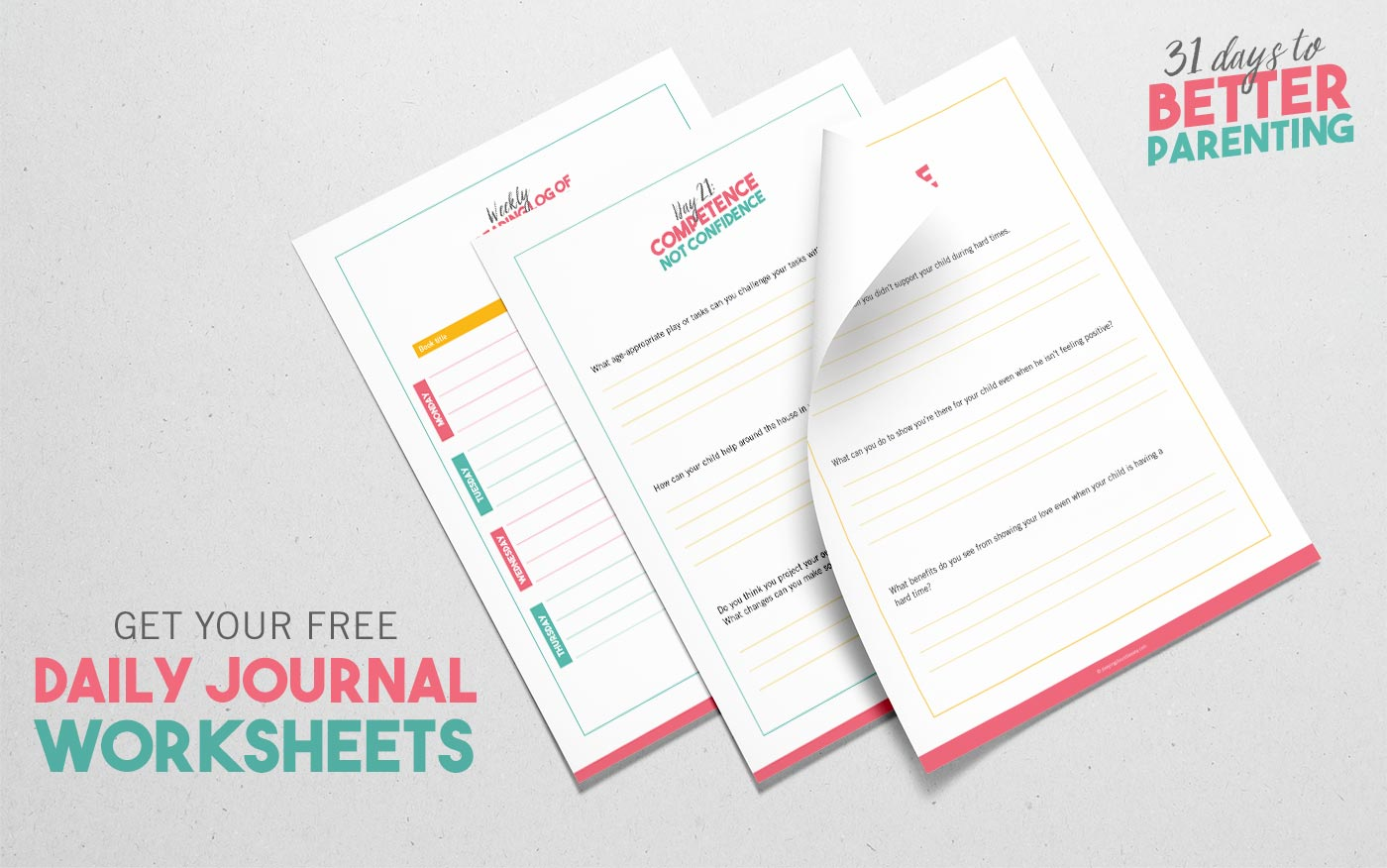 31 days journal worksheets