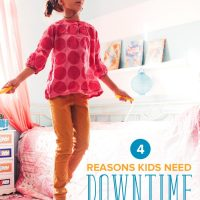 Little girl jumping rope in her room: reasons kids need downtime