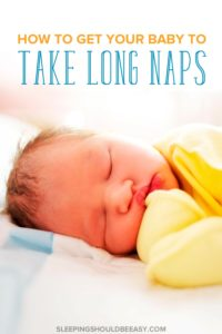Frustrated with your baby's short cat naps? Feeling stuck with naps no longer than 45 minutes? Get practical tips on how to get baby to take longer naps.