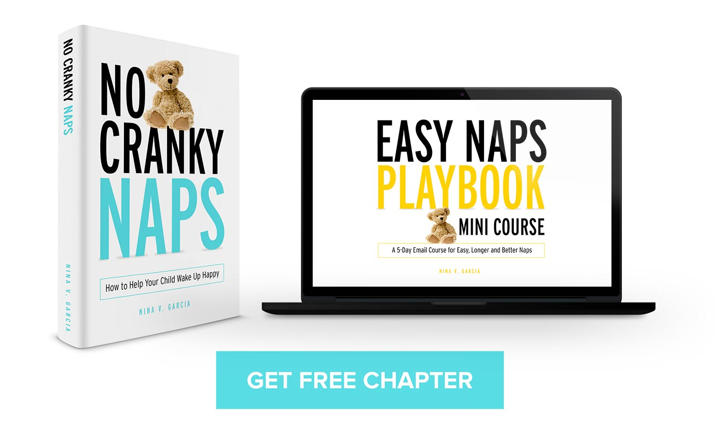 eBook and laptop of No Cranky Naps, inviting you to get a free chapter
