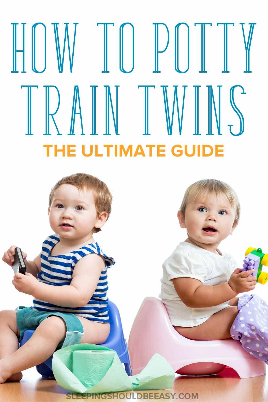 Potty training twins sitting on potties
