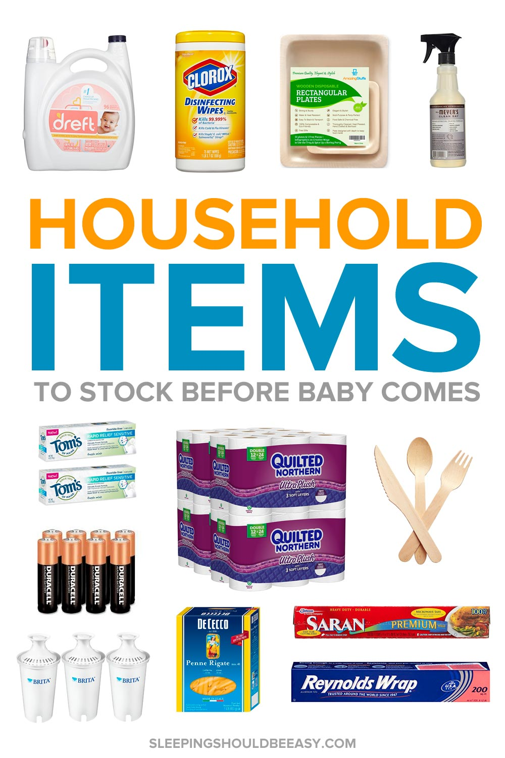 A collection of household items to stock before the baby comes