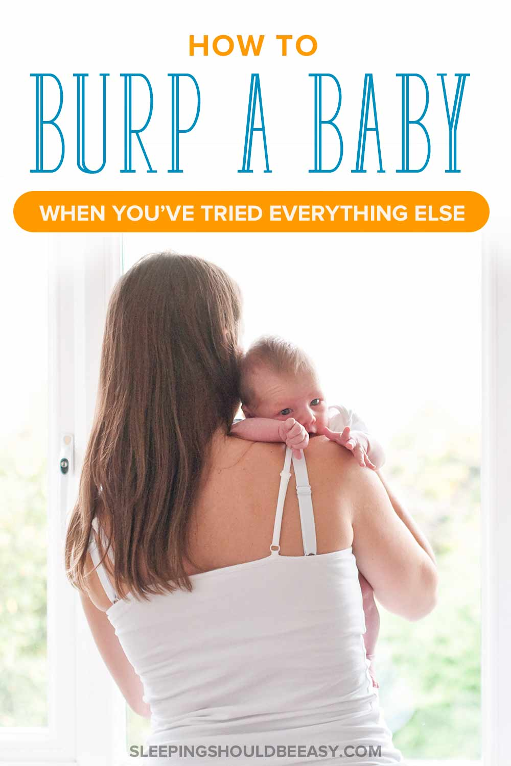 How to burp a baby: Woman trying to burp her baby over the shoulder