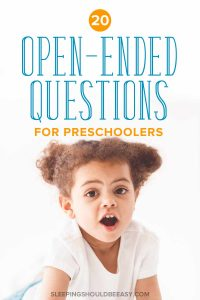 Get examples of open ended questions for preschoolers with these conversation starters! Perfect for kids to practice creative and critical thinking skills. #Preschoolers