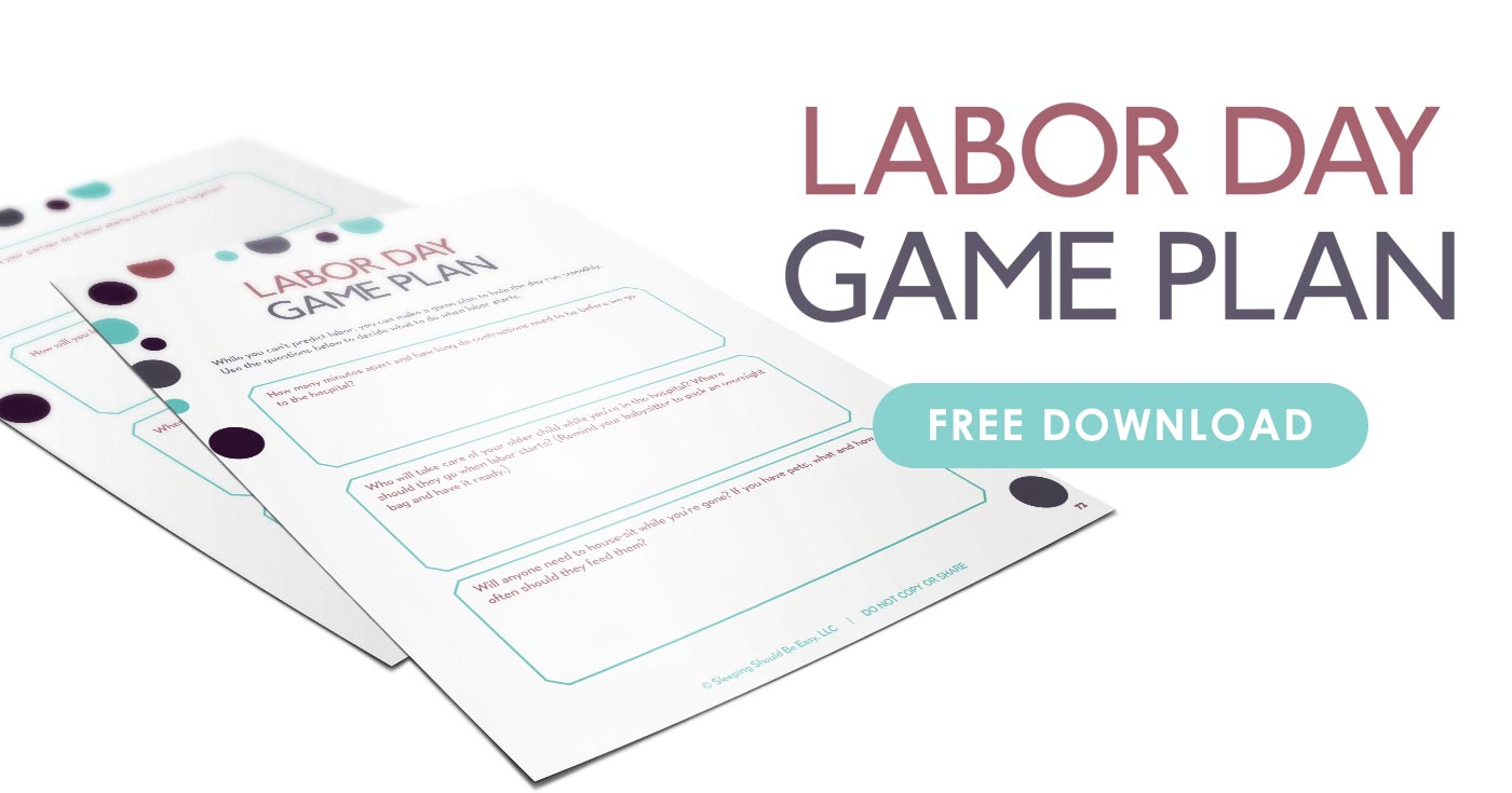 Free printable download of a twin pregnancy labor day game plan