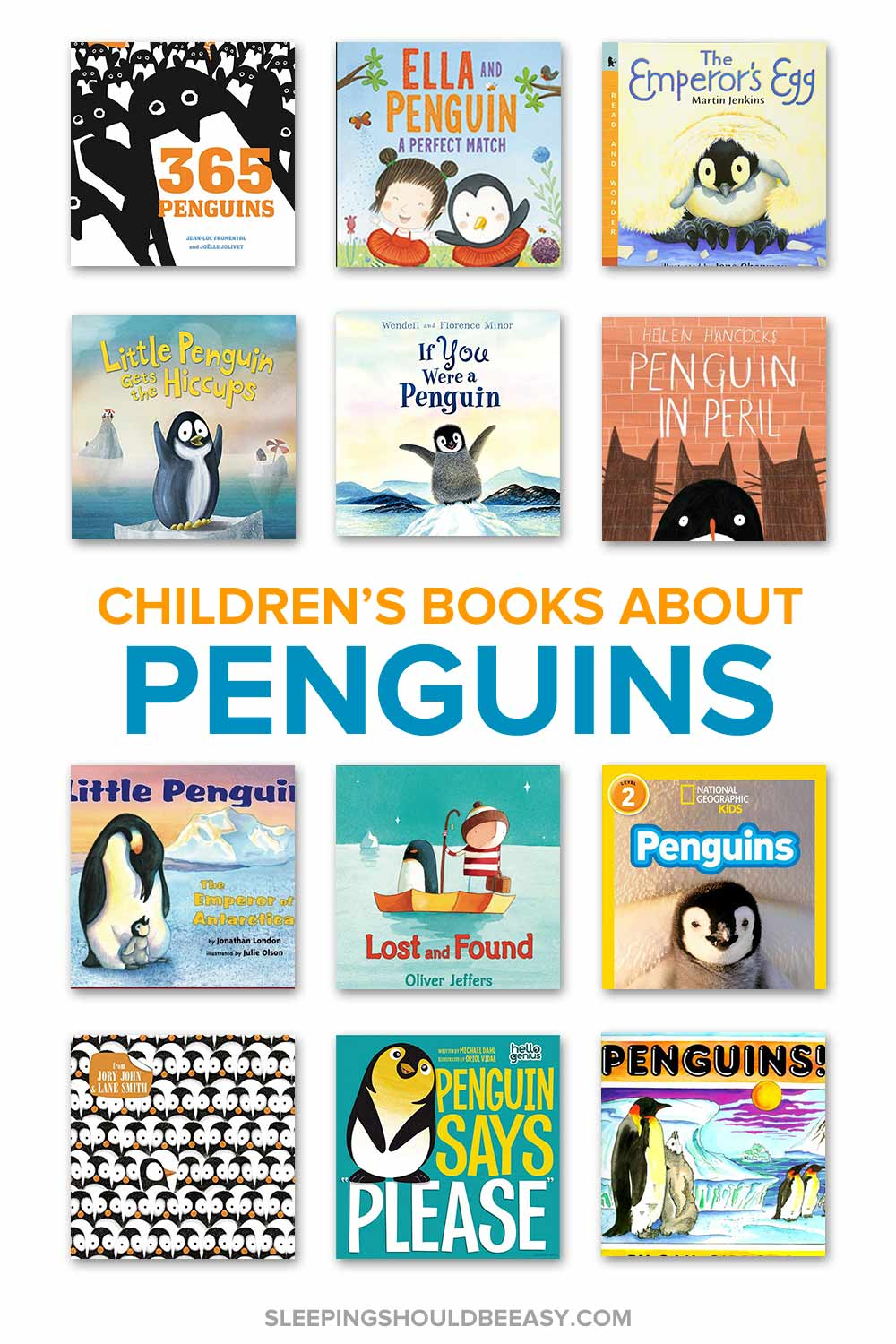 A collection of children's books about penguins