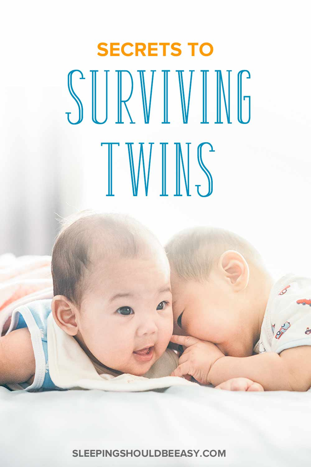 Secrets to surviving twins: Newborn twins doing tummy time on a bed