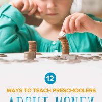 A little girl stacking coins: 12 ways to teach preschoolers about money