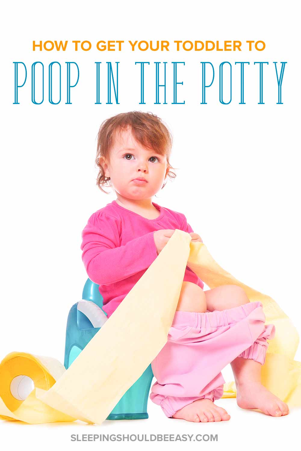 A little girl sitting on a potty: how to get your toddler to poop in the potty