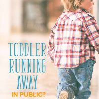 A toddler running away in public