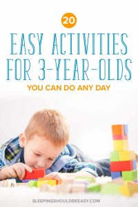 Little boy playing blocks: activities for three year olds