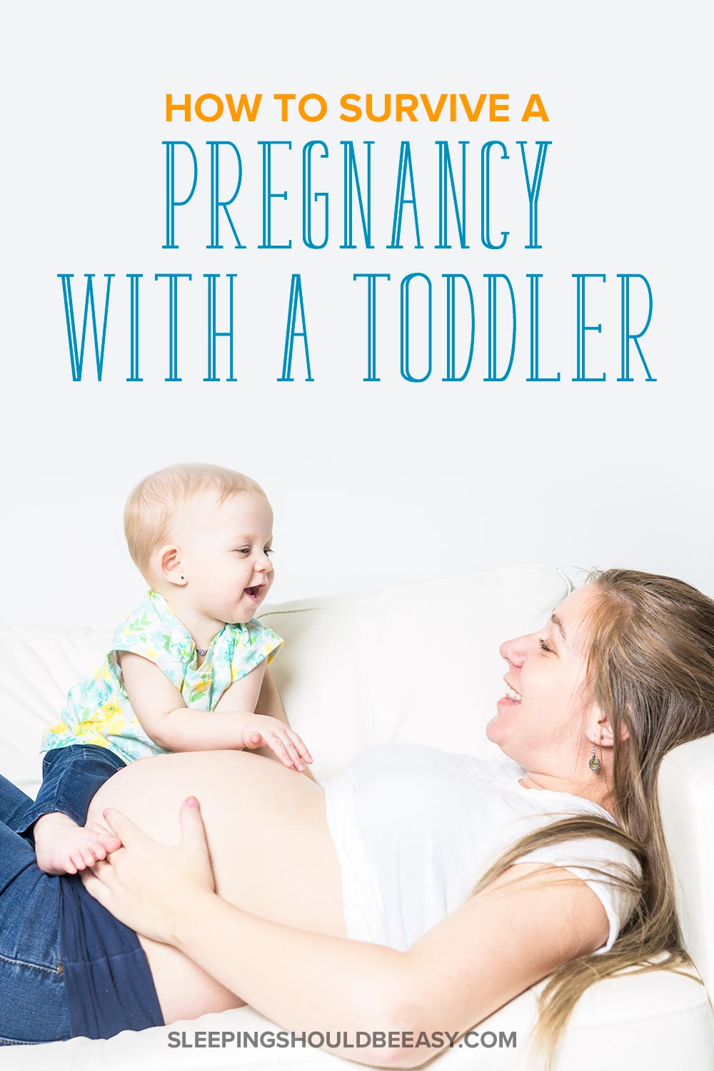 Pregnant mom lying down with a toddler: How to survive a pregnancy with a toddler
