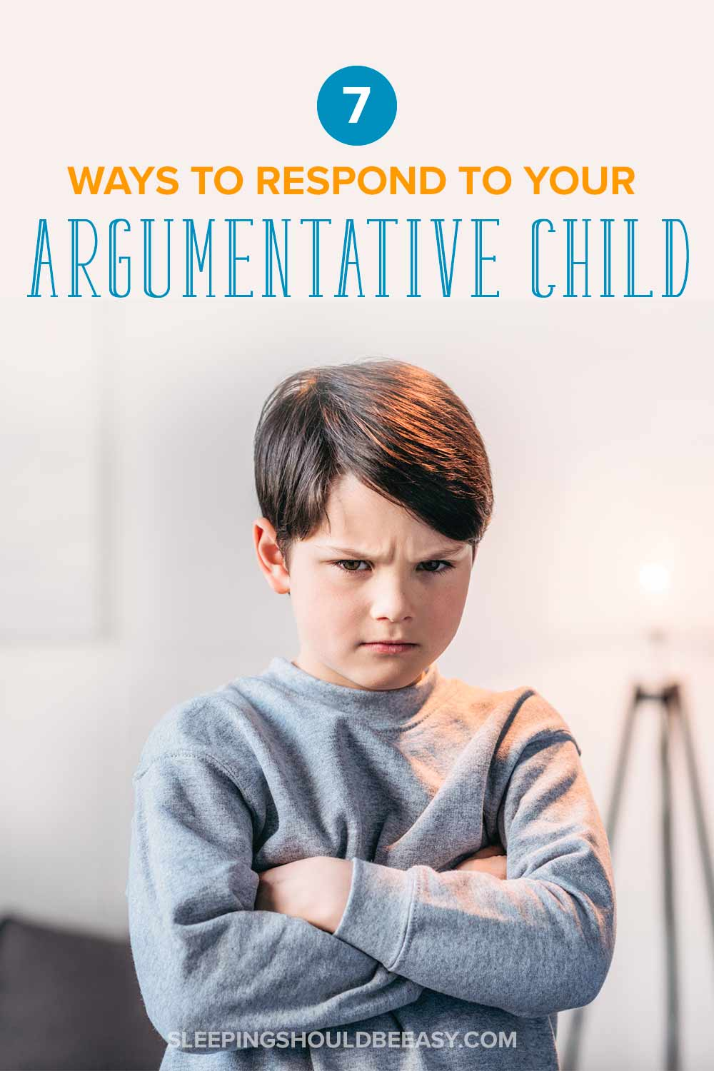 Argumentative child with his arms crossed