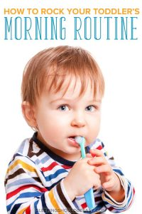 Morning routine for toddlers: A little toddler brushing his teeth