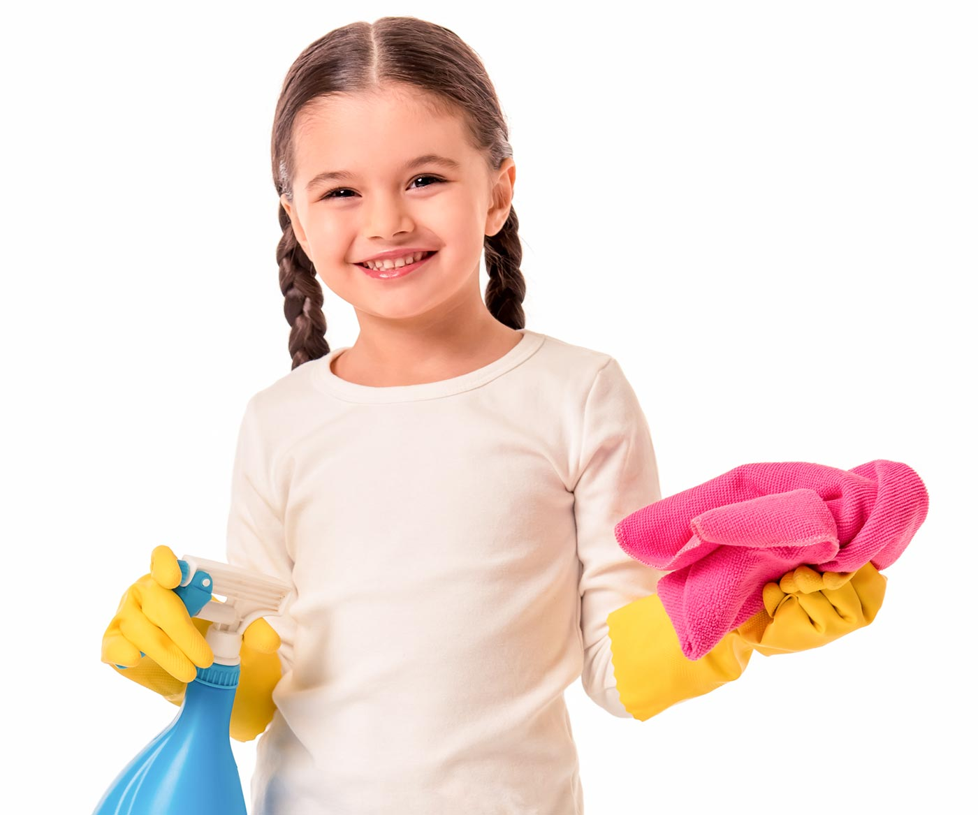 Little girl doing chores