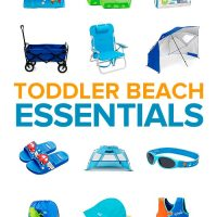 A collection of beach essentials for toddlers