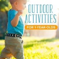 Little boy running outside, doing outdoor activities for 1 year olds