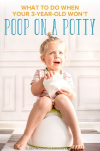 Little girl sitting on a potty, with tips on when your 3 year old won't poop on potty
