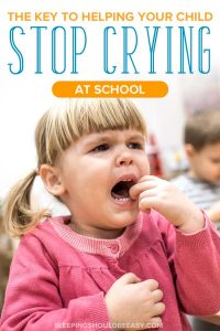 A little girl crying at school